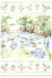 no front title, treed meadow with blue flowers, prominent bluebell right, border of mixed flowers