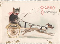 MERRY GREETINGS cat being pulled in cart by dog, mice scatter