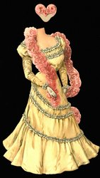 yellow ballgown with white accents, pink feather boa and hat