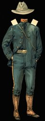blue uniform, white belt and hat