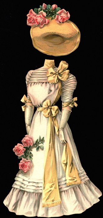 pink gown with roses and hat