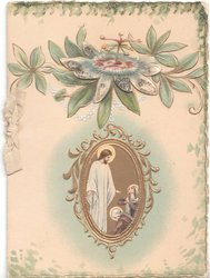 no title, passion flower above inset of Jesus and two followers