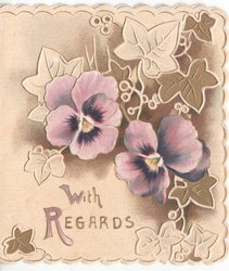 WITH REGARDS gilt leaves and two pansies