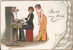 NOTE MY WISH man plays piano while woman observes