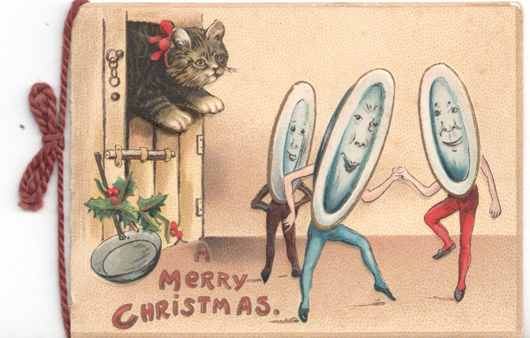 A MERRY CHRISTMAS cat looks at anthropomorphic dishes dancing, holly and pan to left