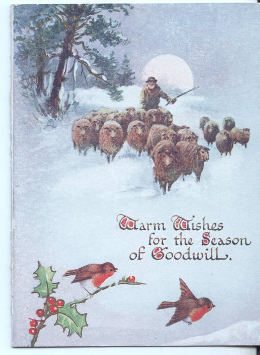 WARM WISHES FOR THE SEASON OF GOODWILL man herding sheep in snow, holly and birds at bottom