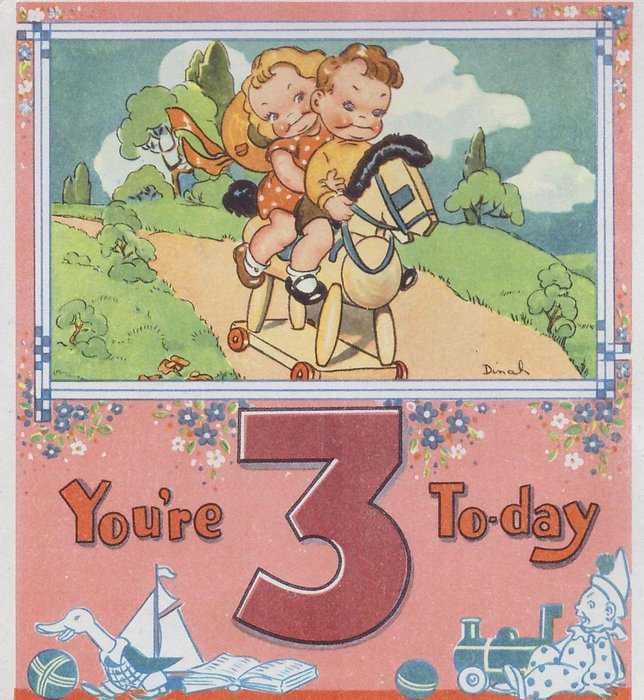 YOU'RE 3 TO-DAY below inset of boy & girl hugging riding toy horse