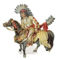MORE FOUR-FOOTED FRIENDS, INDIAN CHIEF ON HORSEBACK