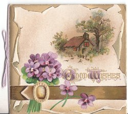GOOD WISHES (G&W illuminated), violets and rural scene