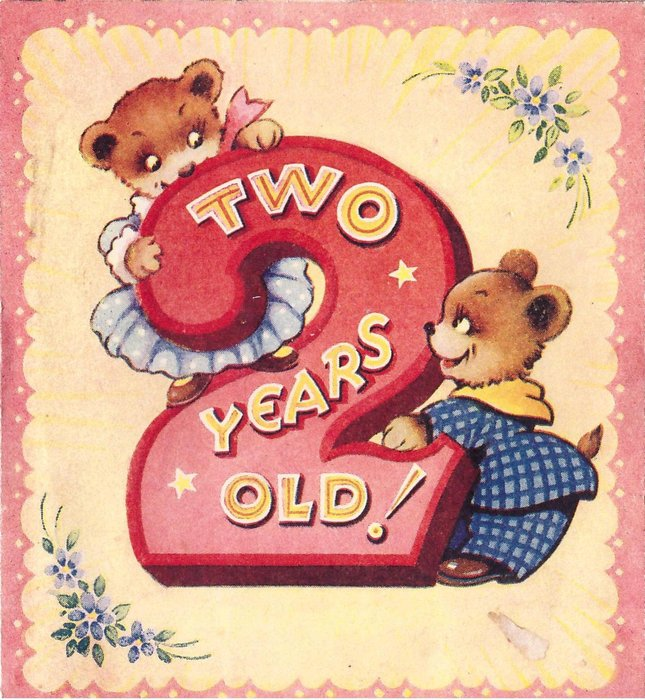 TWO YEARS OLD!  dressed bears look at eachother across large red 2