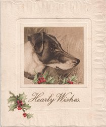HEARTY WISHES profile of dog, decorative holly