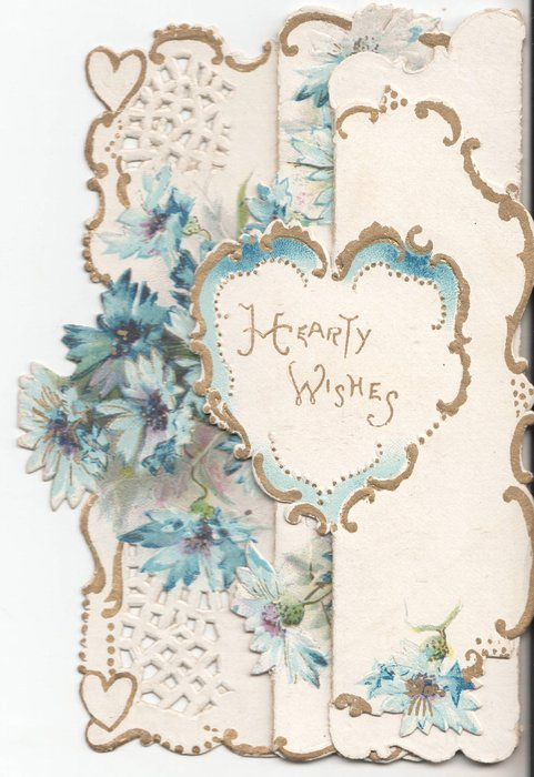 HEARTY WISHES in heart in gilt, blue cornflowers