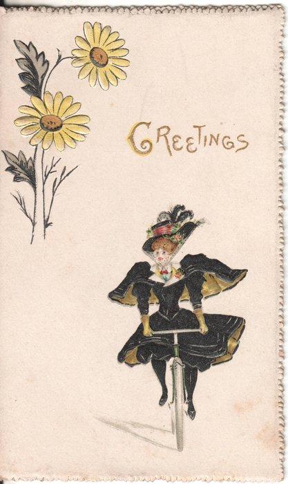 GREETINGS woman on bike, daisies above