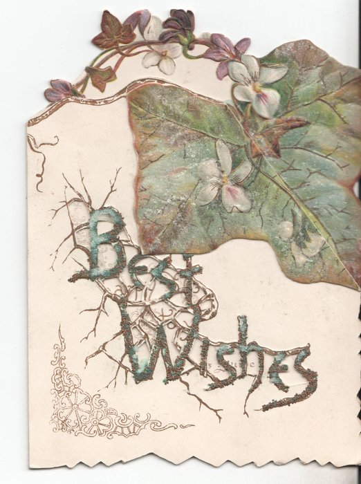 BEST WISHES in branch design, small flowers and large ivy leaf