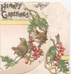 HEARTY GREETINGS  glittered, two birds perched on holly branches
