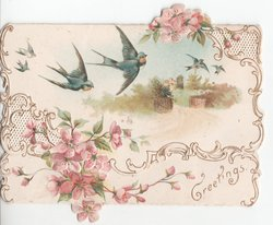 GREETINGS 3 swallows in flight, pink flowers top and bottom