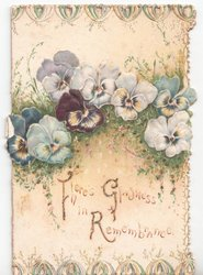 THERE'S GLADNESS IN REMEMBRANCE (T/G/R glittered) multicolored pansies
