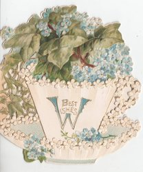 BEST WISHES (w illuminated) basket of forget-me-nots, ivy leaves