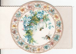 no front title, circle surrounded by flowers, two bees fly near forget me nots