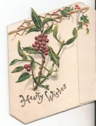 HEARTY WISHES two flaps with holly branches on each