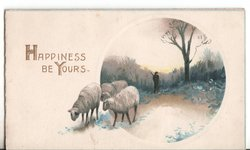 HAPPINESS BE YOURS three sheep walk ahead of person in circular inset