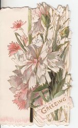 GREETING in gilt, pink and white flowers