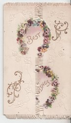 BEST WISHES in gilt, each word surrounded by ring on pansies