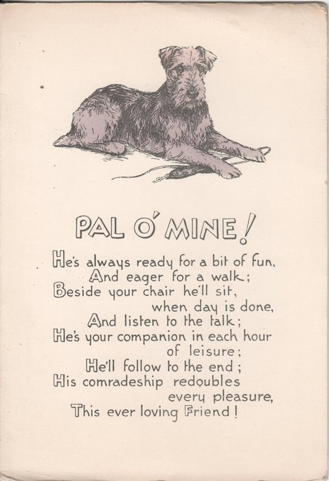 PAL O' MINE! dog on cover, verse below