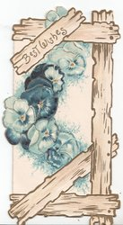 BEST WISHES on wooden board above blue pansies