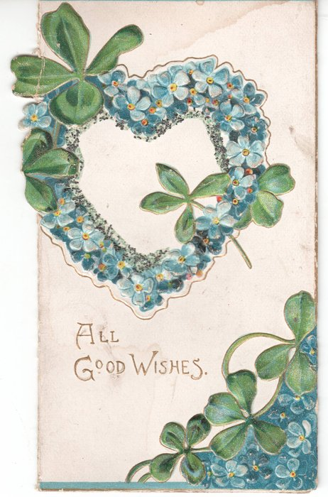 ALL GOOD WISHES in gilt, heart-shaped wreath of forget-me-nots