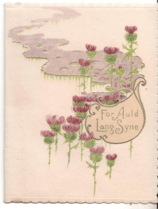 FOR AULD LANG SYNE in gilt, many thistles on cover