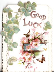 GOOD LUCK in gilt below & right of clover leaves, pink flowers and butterflies bottom right