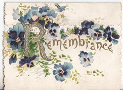 REMEMBRANCE (R illuminated & glittered) in gilt at top of lower flap, blue & purple pansies around