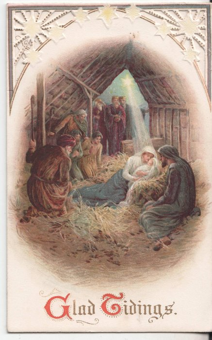 GLAD TIDINGS (G & T illuminated) nativity scene showing Mary, Jesus, the shepherds and wise men