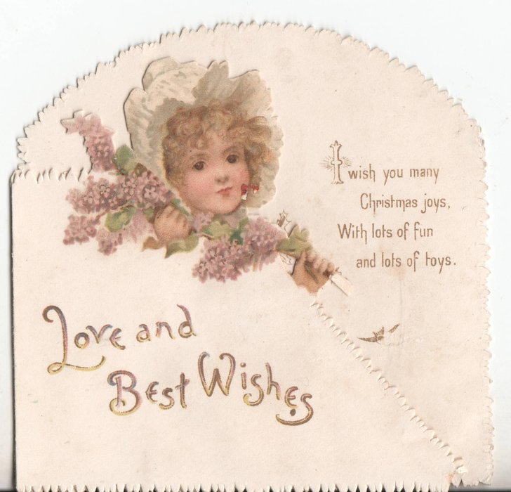 LOVE AND BEST WISHES child wearing bonnet holds lilacs
