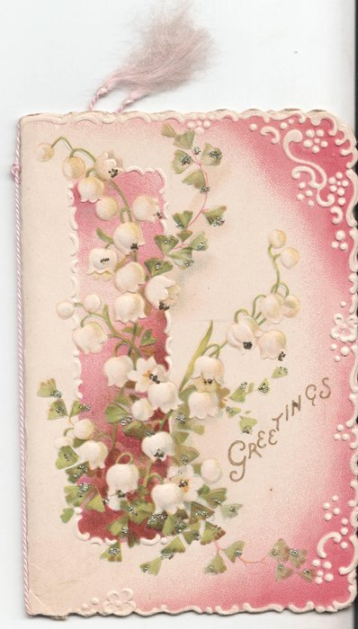 GREETINGS in gilt, lilies-of-the-valley in front of pink background