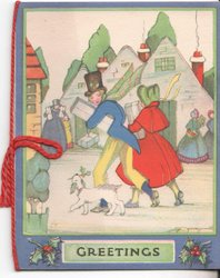 GREETINGS many people out on the street carrying presents, dog holding holly walks with man and woman