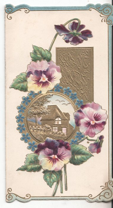 no title, gilt rural inset surrounded by pansies