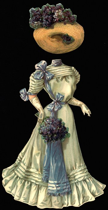 light grey gown with blue ribbon accents and hat