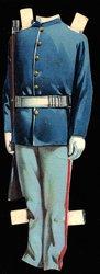 blue military uniform with rifle gun