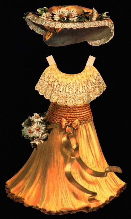 yellow dress with lace at top and flowers, with yellow hat