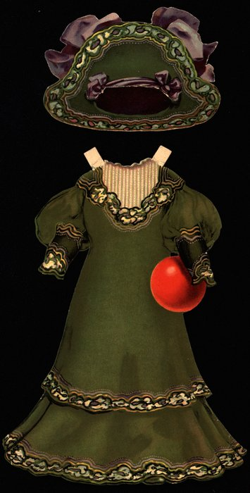 green dress with red ball and hat