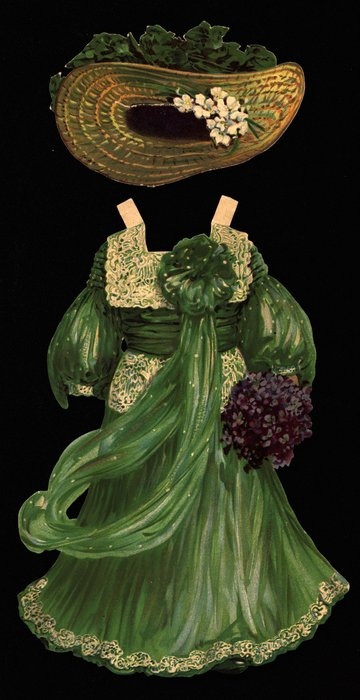 green gown with hat