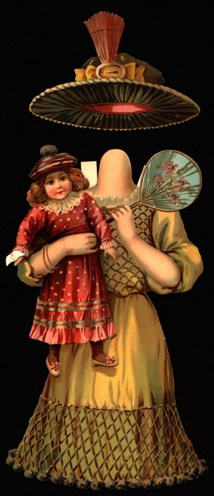 gold dress with pattern, doll, fan and hat