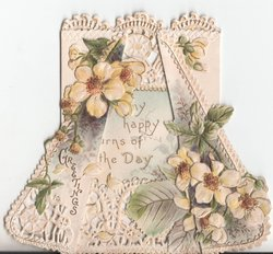 GREETINGS in gilt on left flap, yellow daisies on each side of card