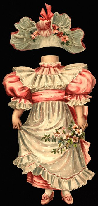 pink dress with white lace and apron and hat