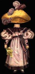 burgundy dress and straw hat