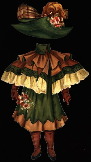 green and brown dress with elaborate cape and hat