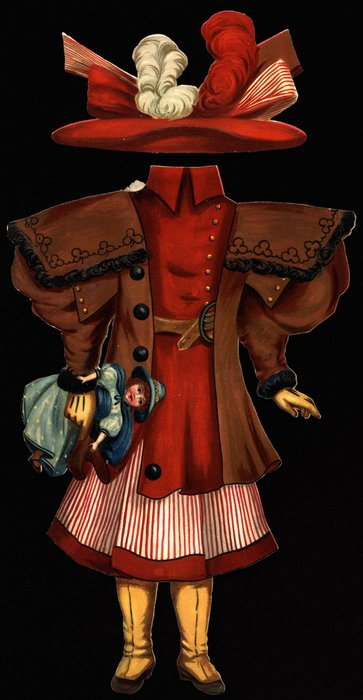 red top, brown jacket, striped red and white skirt and hat
