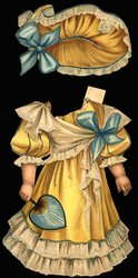 yellow dress with white lace and large blue bow, with hat